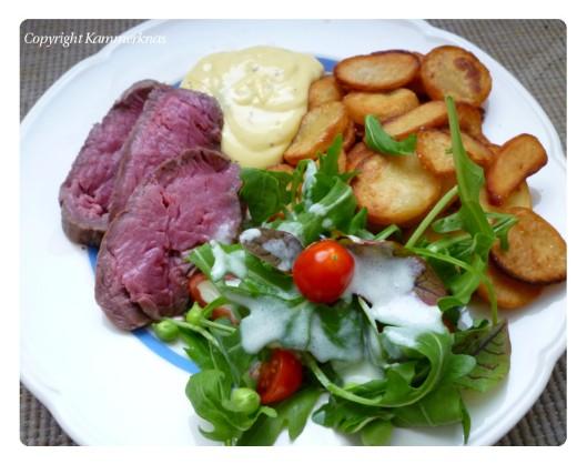 Tallerken med oksemørbrad og salat
