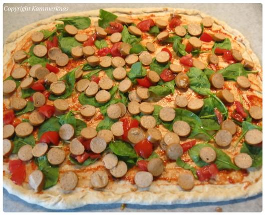 Kantarelpizza med kyllingepølse 4