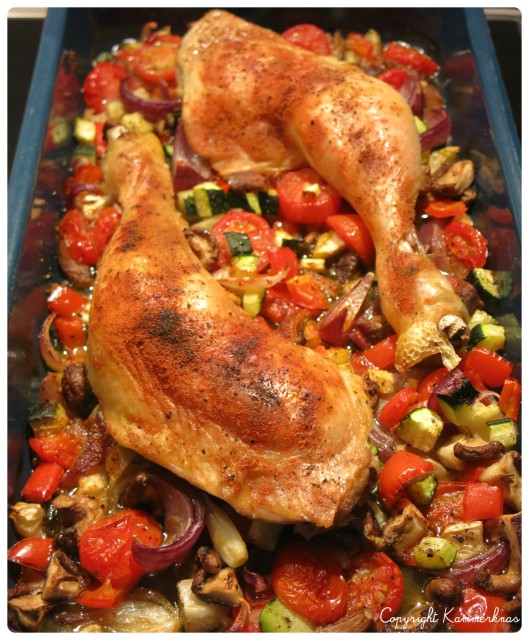 Kylling og grøntsager i fad 4