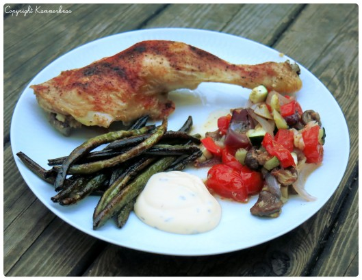 Kylling og grøntsager i fad 5